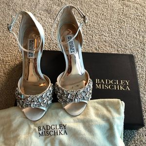 Badgley Mischka cream satin jewel wedges